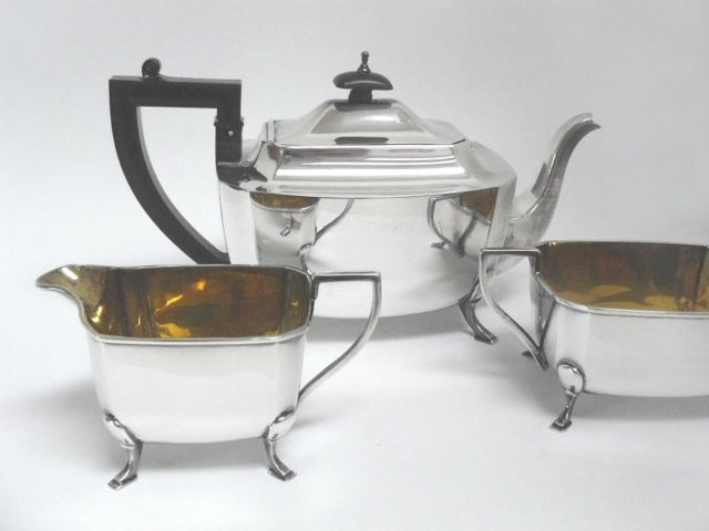 Dreiteiliges Teeservice, Sterlingsilber, AL Davenport, England