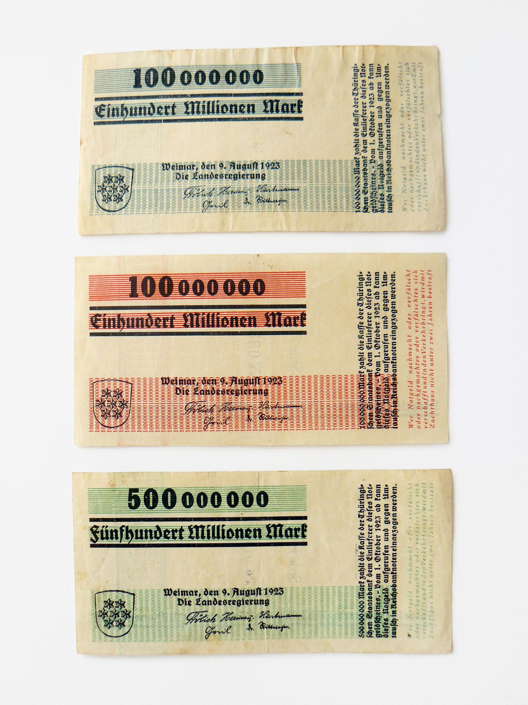 """Hundert-Millionen-""""Notgeld"""" Thüringen, Herbert Bayer, Weimar"""