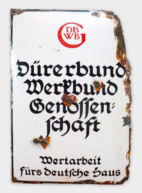 Schild, Emaille, Dürerbund-Werkbund-Genossenschaft, Dresden-Hellerau