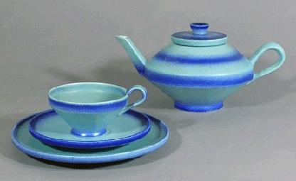 Haël-Keramik - blaues Teeservice: Teekanne, Tasse, Teller